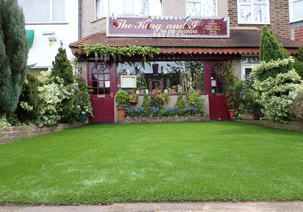 Installed artificial grass on concrete