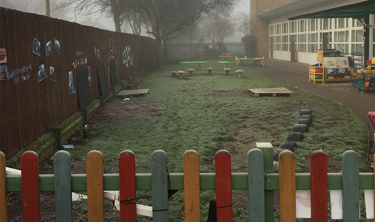 Muddy school playground