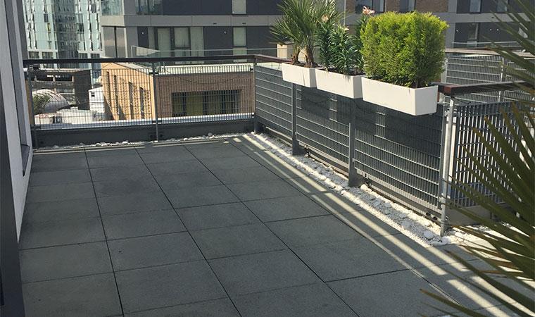 Grey urban rooftop garden