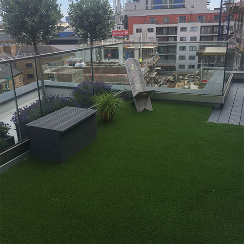 Stick grass to terrace