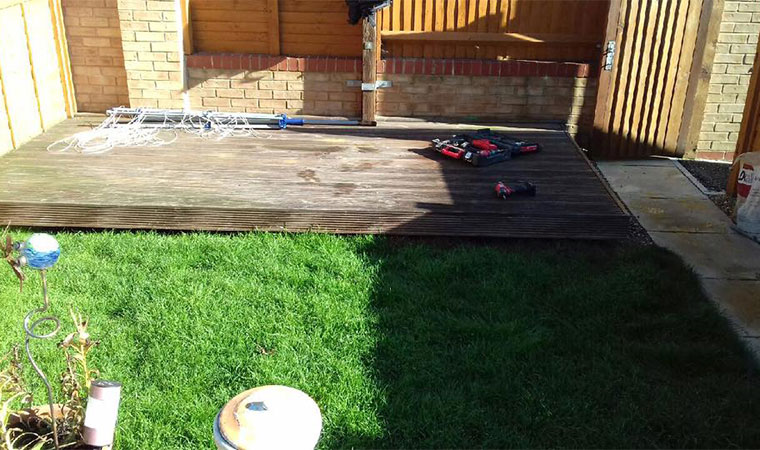 Decking that dwarfed the lawn