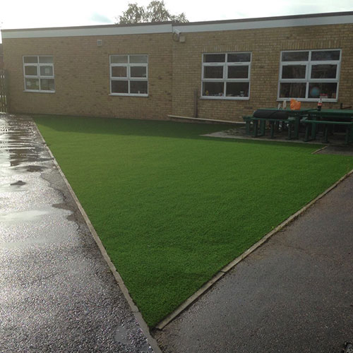 Completed artificial grass for a junior school