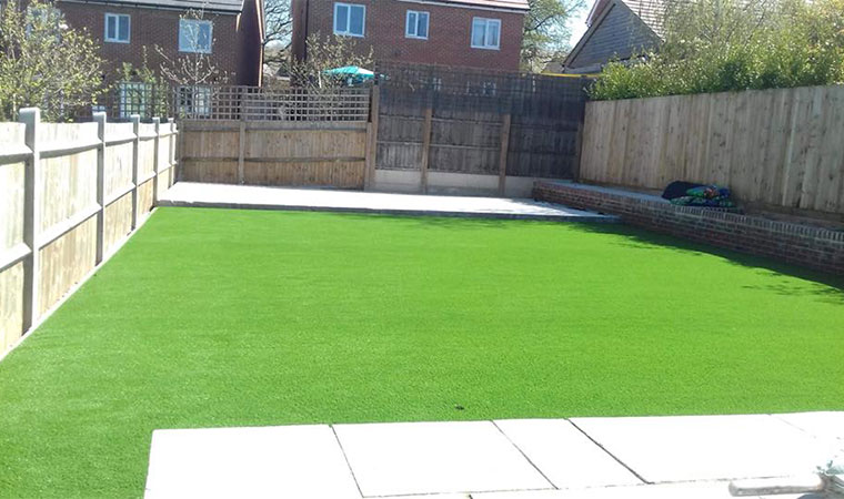 Finished artificial grass lawn longfield
