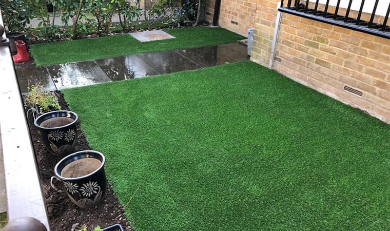 Artificial grass laid