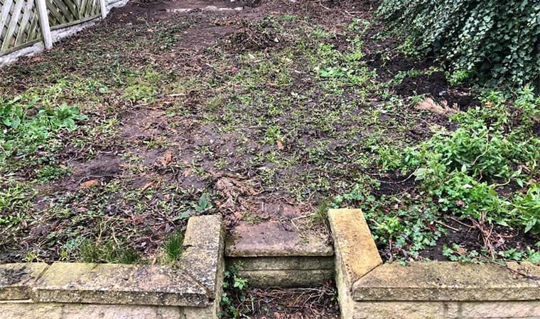 Muddy back garden Chislehurst