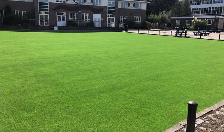 School car park fitted artificial grass