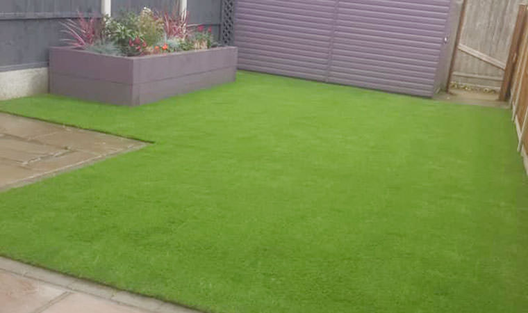Basildon garden fitted with artificial grass