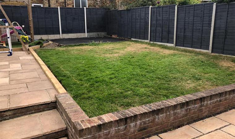 Original lawn needing levelling