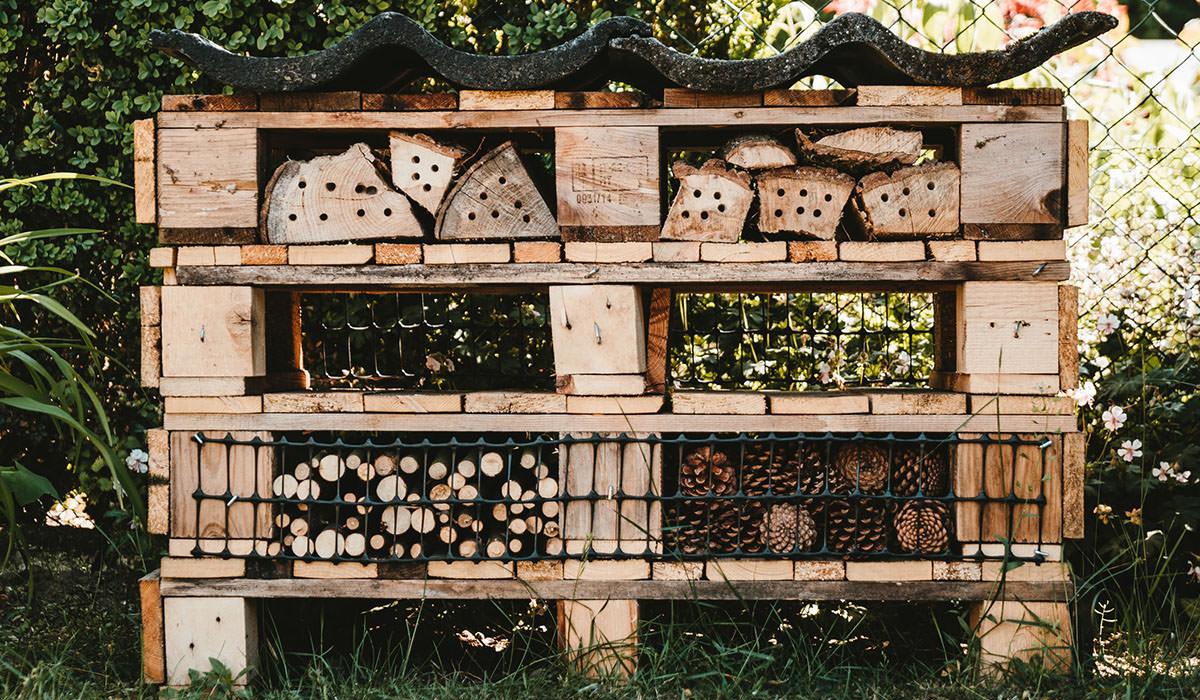 Bug hotel in garden