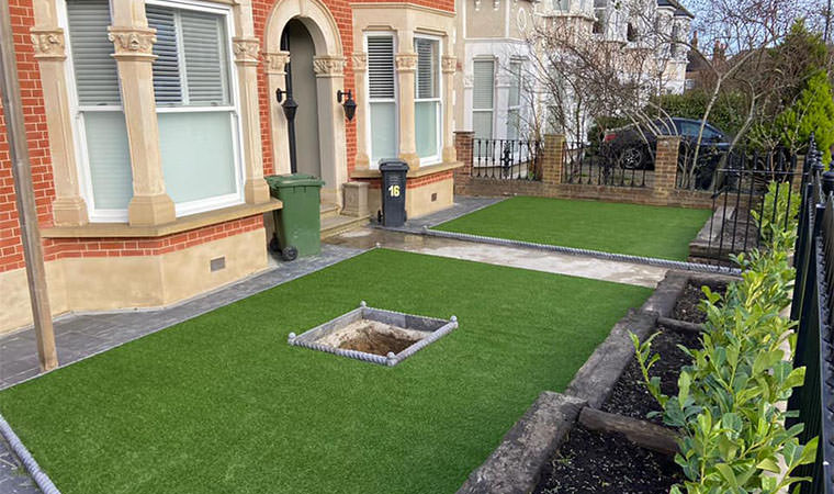 Catford front garden lawn complete