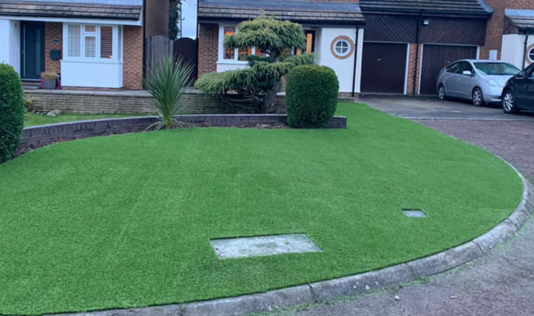 Front garden fitted with artificial grass