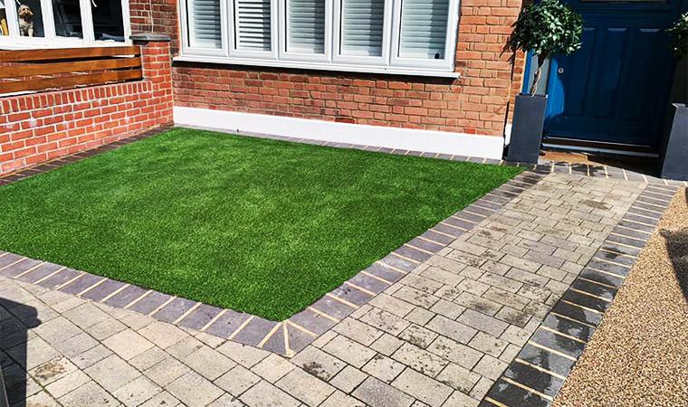 Artificial grass installed Beckenham front garden