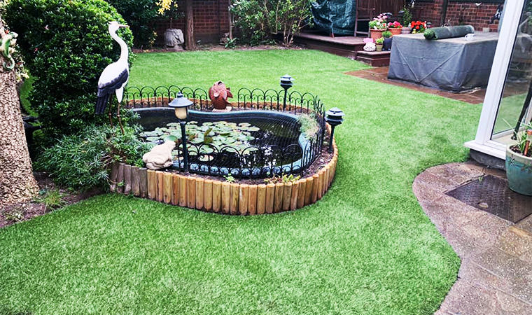 Nicely shaped garden lawn