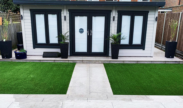 Fitted with artificial grass